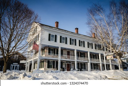 Grafton, NY / USA - 03-06-2015: Founded in 1801, the historic Grafton Inn is a quintessential Vermont country inn.