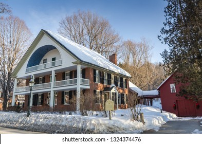 Grafton, NY / USA - 03-06-2015: Georgian Federal style house, listed on National Register of Historic Places, built by Lucius Alexander when he purchased mill on Saxton River.