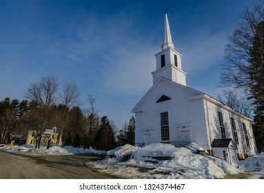 Grafton, NY / USA - 03-06-2015: Historic white church in Grafton, VT.