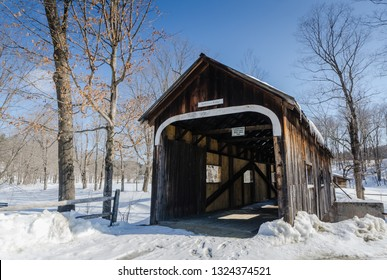 Grafton, NY / USA - 03-06-2015: The McWilliam Covered Bridge is a 62 foot wooden span crossing a branch of the Saxtons River built in 1967 by the Grafton Cheese Company.
