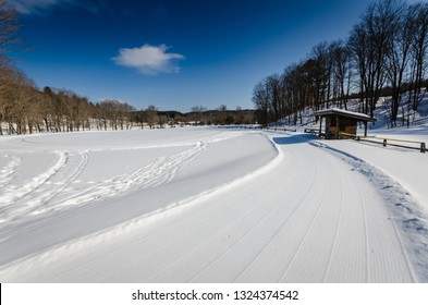 Grafton, NY / USA - 03-06-2015: Grafton Ponds focuses on cross country skiing, snowshoeing, ice skating and tubing on a 600-foot hill. There are 30 km of trails groomed with a snowcat and tiller and 3