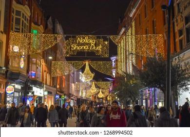 Grafton Street Christmas lights, Dublin, Ireland, Dec 2018