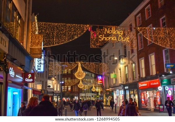 Christmas In Dublin Ireland.Grafton Street Christmas Lights Dublin Ireland Stock Photo