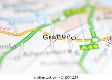 Grafton. United Kingdom on a geography map