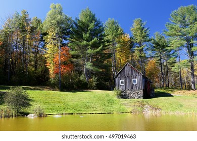 Grafton, Vermont - October 10, 2016: The Vermont Country Store Grist Mill With Colorful Foliage in Background, Grafton, Vermont.
