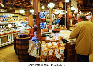 Grafton, VT, USA December 17, 2009 Customers at a store in Grafton, Vermont shop for specialty foods and souvenirs to bring home