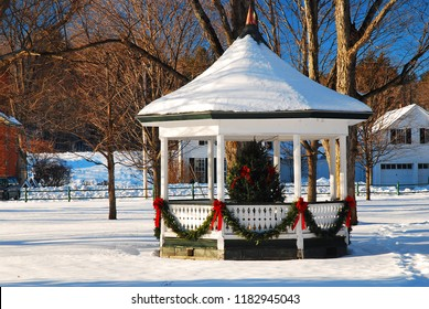 Grafton, VT, USA December 17, 2009 A Christmas tree in a gazebo adorns a village square in Grafton Vermont