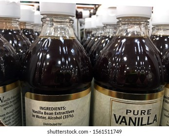 Grafton, WI USA - November 15, 2019: Vanilla Extract on store shelf in grocery store. The bottles contain 35% alcohol, which some people are drinking. Illustrative editorial
