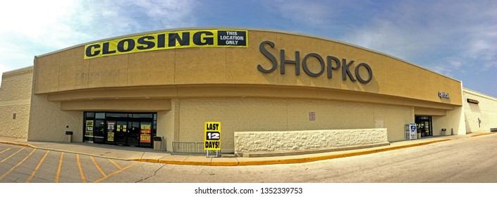 Grafton, Wisconsin USA - March 28, 2019: Shopko stores closing all locations in an attempt to re-organize. Many shutting down ahead of scheduled dates, others held open longer. Illustrative Editorial