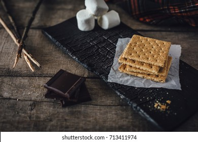 Graham crackers, chocolate and marshmallows for smores