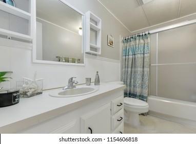 Graham, WA / USA - Aug. 9, 2018: Modern bathroom interior