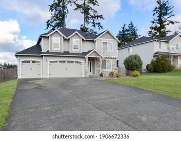 Graham, WA, USA - Jan. 29, 2021: Residential front exterior