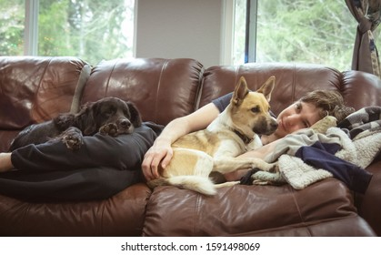 Graham, Washington/USA- 12/14/2019: A man cuddling sweet puppies.