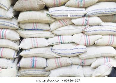 Grain Bags in Stacks in Warehouse Indoors