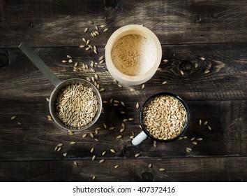 Grain, barley malt, rye and flour