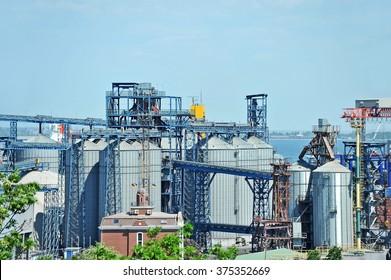 Grain dryer in the port of Odessa, Ukraine