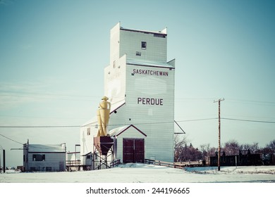 The grain elevator in Perdue, Saskatchewan, Canada on a cold but sunny winter day.
