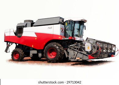 grain harvester combine on a white background