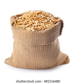 grain oats with husk in burlap bag  isolate on white background