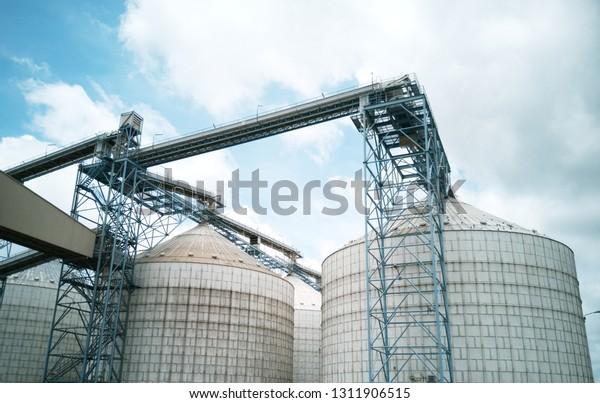 Grain Silos Grain Elevator Conveyor Belt Stock Photo (Edit Now