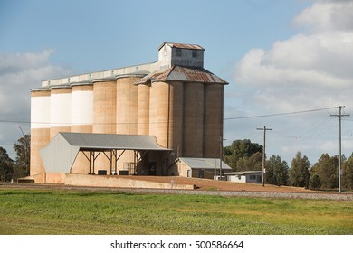 Grain silos on the railway line in the tiny rural village of Beckom, New South Wales, Australia