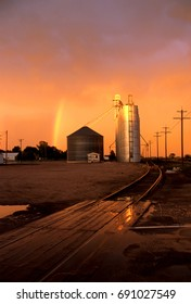 Grain Silos with rainbow in Potter Nebraska.