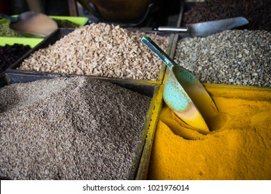 Grain spices and curry powder for sale at Darajani Market in Stone Town, Zanzibar