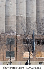 grain storage silos and delapidated building in minneapolis minnesota hennepin county