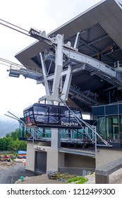 Grainau, Bavaria, Germany - June 25 2018: New modern Cable car to the Zugspitze mountain summit. New cable car to the Zugspitze was opened in December 2017.