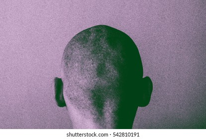 Grained skinhead angry man. Gloomy thinking mind in simple design.