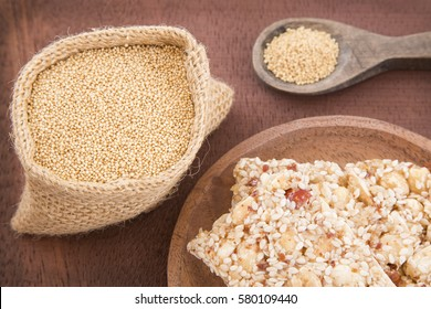 Grains and amaranth bar (Amaranthus)