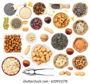 Grains, Beans, Nuts, and Seeds Isolated on White Background. Contain walnut, peanut, almond, chestnut, nutcracker, rice, beans, poppy, sesame, cranberry, raisins, popcorn, pumpkin seed, wheat.