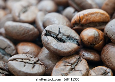 grains of coffee close up