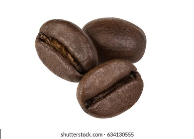 grains of coffee on a white background