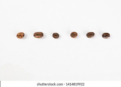 Grains of different types of coffee lined up in a discontinuous line. Each grain has a different shape, color and texture. It has been removed by spot light and fill light in the studio