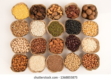 Grains are nutritious on a white background.