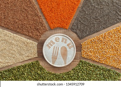 Grains , seeds and cereals based menu concept - top view of colorful variety on the table