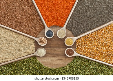 Grains, seeds and cereals variety on the table - colorful healthy plant based diet choices