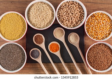 Grains and seeds variety on the table, diversified diet concept - top view