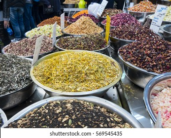 Grains and spices for sale on Machane Yehudah street market in Jerusalem, Israel