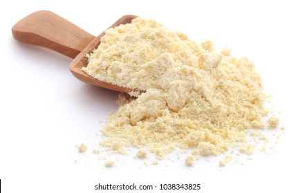 Gram flour closeup over white background