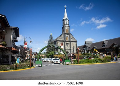 GRAMADO, BRAZIL - November 05, 2017 - Reindeer street next to the Saint Peter Stone Church - Gramado, Rio Grande do Sul, Brazil