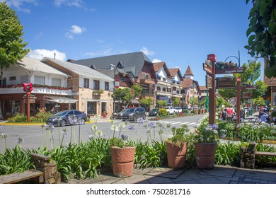 GRAMADO, BRAZIL - November 05, 2017 - Street and architecture of Gramado city - Gramado, Rio Grande do Sul, Brazil