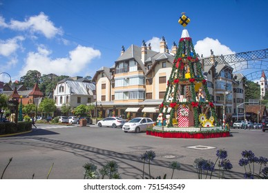 GRAMADO, BRAZIL - November 05, 2017 - Streets of the city decorated for Christmas Luz Gramado, Rio Grande do Sul, Brazil