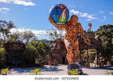 GRAMADO - CANELA, RIO GRANDE DO SUL, BRAZIL - MAR 22, 2018: Park Terra Mágica Florybal Magic Land with Giants