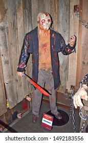 GRAMADO, RIO GRANDE DO SUL, BRAZIL - JUN 02, 2016: Jason Voorhees, the main character from the Friday the 13th series, at the Dreamland Museu de Cera (wax museum)
