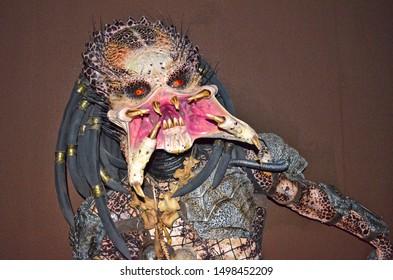 GRAMADO, RIO GRANDE DO SUL, BRAZIL - JUN 02, 2016: Predator, a fictional extraterrestrial species featured in the Predator science-fiction franchise, at the Dreamland Museu de Cera (wax museum)