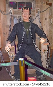 GRAMADO, RIO GRANDE DO SUL, BRAZIL - JUN 02, 2016: Frankenstein's monster, fictional character who first appeared in Mary Shelley's 1818 novel Frankenstein, at the Dreamland Museu de Cera (wax museum)
