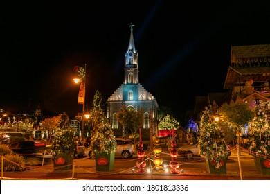 Gramado, Rio Grande do Sul, Brazil - January 11, 2019 - night image of the Church of São Pedro with Christmas ornaments. Stone Cathedral in Gramado Rio Grande do Sul.