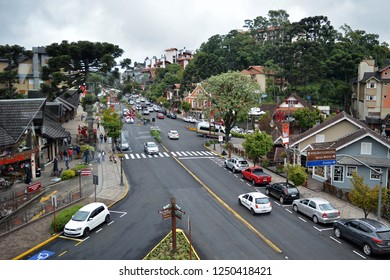 Gramado, Rio Grande do Sul/Brazil - December 2, 2018: Panoramic view of Gramado city, south of Brazil. The European lookalike city receives thousands of people a year.